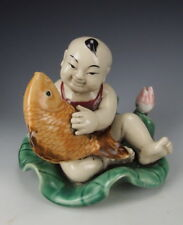 Super Chinese Antique Famille Rose Porcelain Boy and Fish