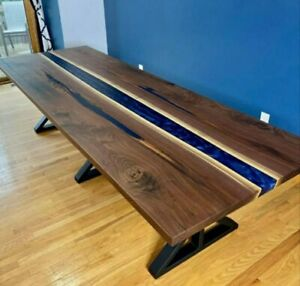 Coffee end Table Acacia wood blue crystal clear Epoxy Resin Square Table Top Art