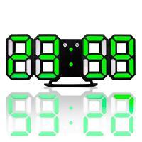 Neue moderne Wanduhr 3D LED Digital Wanduhr Wanduhr Uhr schwarz und gruen E4T2