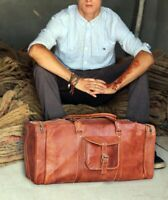 Men's Genuine Leather Vintage Duffel Overnight Travel Luggage Carry-On Gym Bag