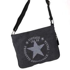 Stern Umhänge Tasche Cross Body Bag Shopper Clutch Vintage Canvas Jeans Stoff R2