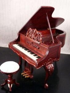 Vintage Fantastic Bespaq GRAND PIANO & BENCH 1:12 Dollhouse Miniature