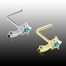 Golden Wishing Opal Shooting Star L-Shaped Ring Sexy Beautiful Jewelry Teal Fun