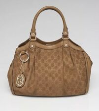 Gucci Brown GG Corduroy Medium Sukey Tote Bag Gold Detail Leather Handle Purse