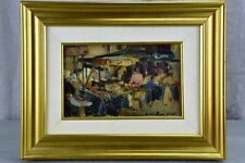 Small antique painting of a market - Bouvier
