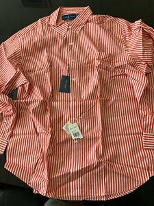 XXL Polo Ralph Lauren Orange with White Stripes Shirt