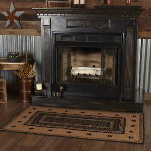 VHC Farmhouse Black Tan Stars Variegated Country Rectangle Braided Rug W/Pad