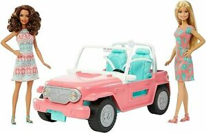 BARBIE Playset JEEP Cruiser Convertible Car with 2 BARBIE DOLLS FPR59 GIFT NEW