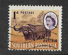 SOUTHERN RHODESIA ISSUE -QE11 ERA USED 1d DEFINITIVE STAMP 1964 - BUFFALO