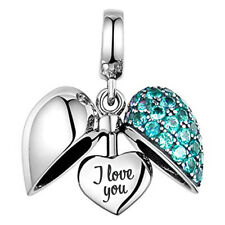 💜 I Love You Heart S925 Sterling Silver Bead Charm Mum Wife Daughter Aqua  💜