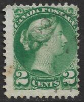 CANADA: 1876-78 QV 2c DEEP GREEN - SMALL HEAD - P12 Ottowa Prtg SG77 FU - NICE!