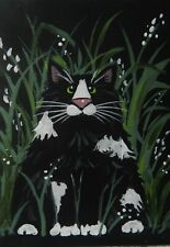 CAT ACEO- Hiding in the tall Grasses    - Pryjmak