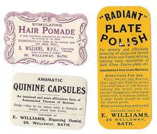 BATH E.Williams Dispensing Chemist 3 x Labels c1950s