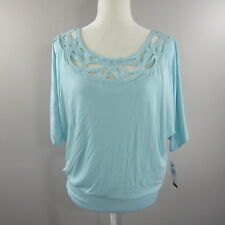 NWT AB Studio Size Medium Light Blue Dolman Sleeve Top