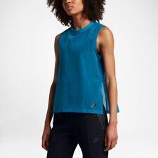 NEW NIKE WOMEN'S TECH HYPERMESH CASUAL SPORTSWEAR TANK TOP BLUE SZ/ SMALL