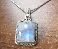 Blue Moonstone with Silver Dot Accents 925 Sterling Silver Oval Necklace