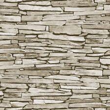 NATURAL GREY BRICK DRY STONE WALL EFFECT REALISTIC WALLPAPER DEBONA 1275