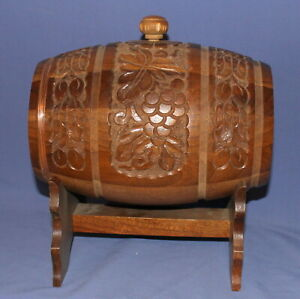 Vintage hand made floral carved wood wine/brandy keg with stand
