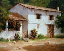 """Roger Williams """"Countryside Vista"""" open edition print Chickens eating, 22x28"""