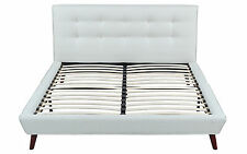 ivory linen low profile platform bed frame with tufted headboard full