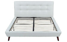 ivory linen low profile platform bed frame with tufted headboard queen