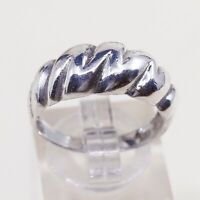 Size 8, Vtg Mexico Sterling Silver Handmade Ribbed Ring taxco 925 Silver Band