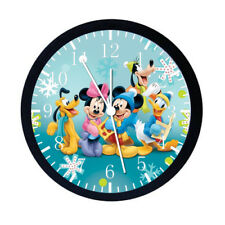 Disney Mickey Mouse Black Frame Wall Clock Nice For Decor or Gifts E12