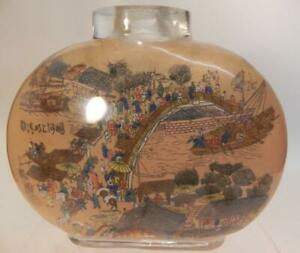 Antique Chinese Snuff Bottle. Large Hand Painted Clear Glass 19/20th C (253