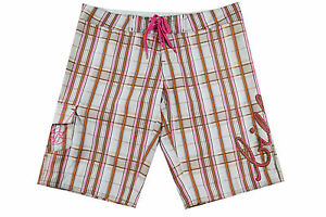 Billabong PLANET Pink Orange Brown White Plaid Pockets Junior's Board Shorts