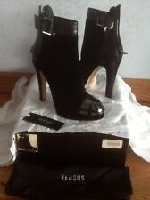 $1400 Versace Versus  velur/leather silver hardware women leather boots,size 41