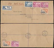 GOLD COAST BORADA REGISTERED AIRMAIL to GB..6 STAMPS FRANKING 1s 7d + 1s 3d 1956