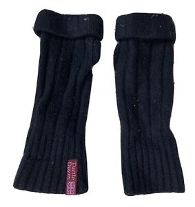TURTLE DOVES 100% Recycled Cashmere BLACK Cosy Fingerless Gloves Wrist Warmers