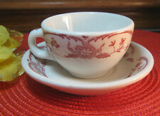 SYRACUSE CHINA~VINTAGE RESTAURANT WARE CUP & SAUCER DEEP DISH~RED/WHITE FLORAL