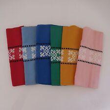 6 serviettes de table carrées piquées brodées art-déco art nouveau