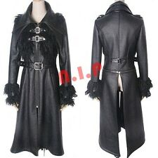 Punk Unisex Goth Faux leather Sheep Wool Fur Jacket Vampire Visual Kei Long Coat