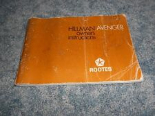 1971 CHRYSLER ROOTES HILLMAN AVENGER GT OWNERS DRIVERS MANUAL FACTORY ORIGINAL