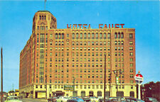 Rockford IL Faust Hotel Standard Gas Station Old Cars Postcard