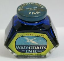 More details for vintage bottle waterman's washable blue ink with some contents