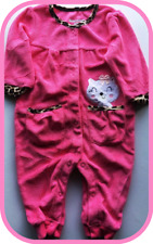 3-6 MONTHS 100% COTTON VELOUR PINK BABYGROW CAT POCKET ANIMAL PRINT TRIM BNWT