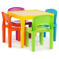 Tot Tutors Kids Plastic Table and 4 Chairs Set, Vibrant