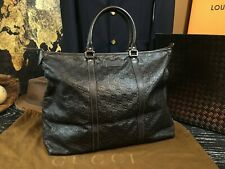"""GUCCI Italy 17"""" Large Guccissima GG Brown Leather Tote Travel Bag Handbag Duffle"""