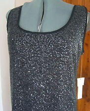 Kenneth Cole NY 14 Charcoal Rich Black Tank Dress Stretch Knit Sequins Lined NWT