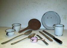 Pink ENAMELWARE Graniteware ACME Skillet WBW SPOON Cups