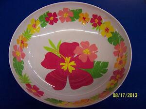 Floral Paradise Warm Tropical Summer Luau Pool Party Melamine Bowl - Pink/Orange