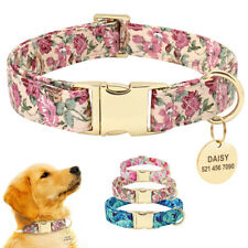 Floral Personalised Dog Collars & Custom Round ID Tags Engraved Small Large Dogs