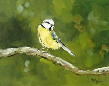 realistic Original Oil painting wildlife art - great tit bird by artist j payne