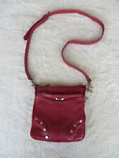 RED LEATHER CROSSBODY SHOULDER BAG PURSE UNZIPS EXPANDS CUSTOM MADE IN ARGENTINA