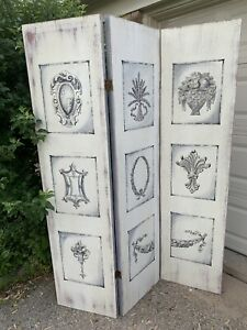 3 Wood Panel Hand Painted  Screen Room Divider  From Marshall Field Props Rare