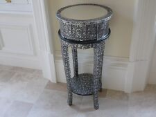 Embossed Mirrored plant stand with drawer 81cm Moroccan blacked  silver