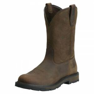 Ariat Groundbreaker Dark Brown Pull On Steel Toe WP Eniso Boots UK8